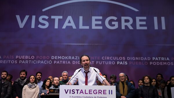 podemos (We Can) party leader Pablo Iglesias delivers his speech at the end of their national convention in Madrid, Spain - Sputnik Mundo