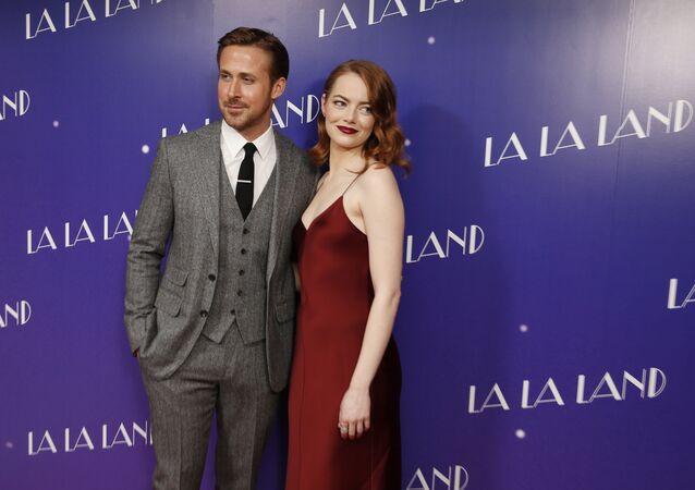 Actores de 'La La Land', Ryan Gosling y Emma Stone (archivo)