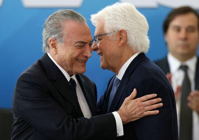 Michel Temer, presidente de Brasil, y Wellington Moreira Franco, ministro de la Secretaría de Gobierno