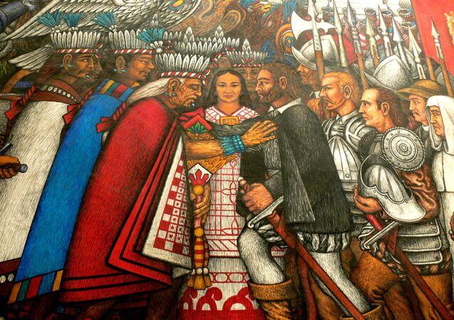 Moctezuma y Hernán Cortes, retratados en el mural del Palacio de Gobierno de Tlaxcala