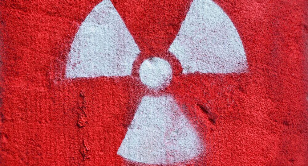 Señal de advertencia de la contaminación radiactiva