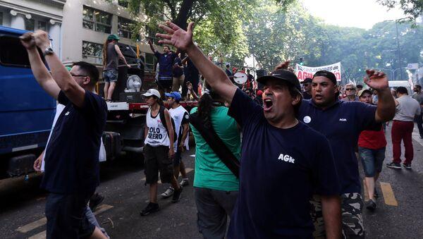 Una huelga de trabajadores en Buenos Aires (archivo) - Sputnik Mundo