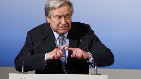 El secretario general de la ONU, António Guterres, pronuncia su discurso en la conferencia de Múnich - Sputnik Mundo