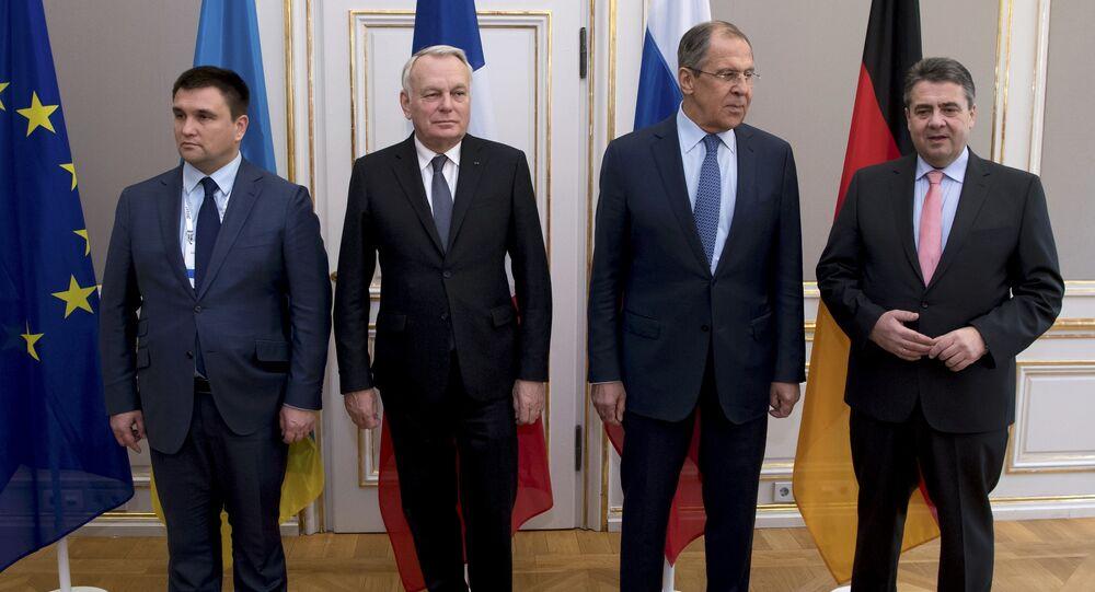Los cancilleres de Exteriores del Cuarteto de Normandía (Alemania, Francia, Ucrania y Rusia)