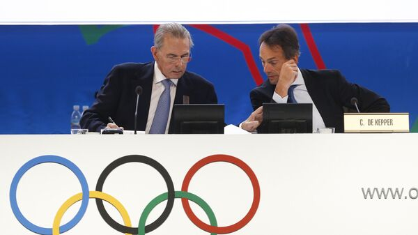 Jacques Rogge y Christophe De Kepper durante la 125 sesión del COI en Buenos Aires, Argentina, 9 de septiembre de 2013 - Sputnik Mundo