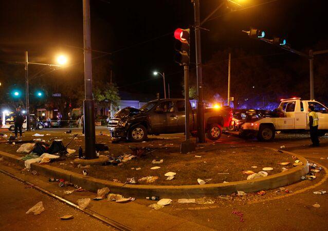 El lugar del accidente en Nueva Orleans