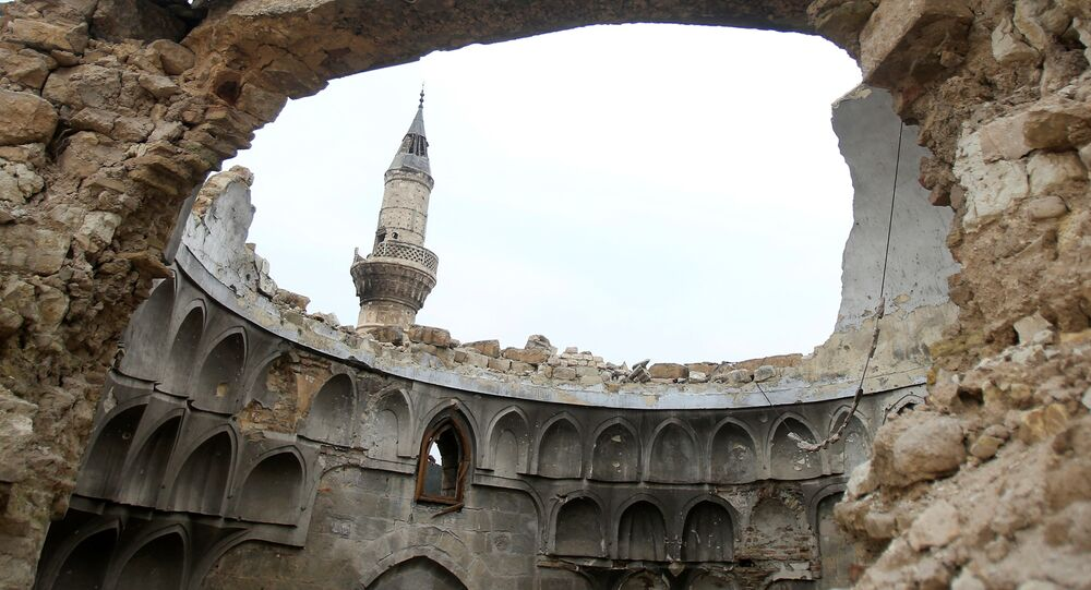 A view shows a damaged dome of a mosque in the Old City of Aleppo, Syria January 31, 2017.