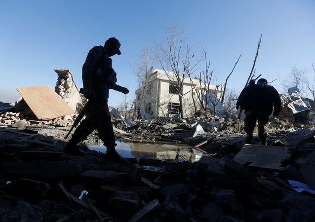 Lugar de la explosión en Kabul