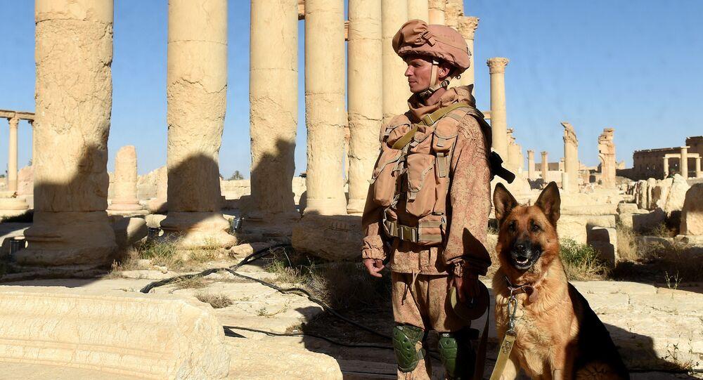 Un militar ruso en Palmira (archivo)