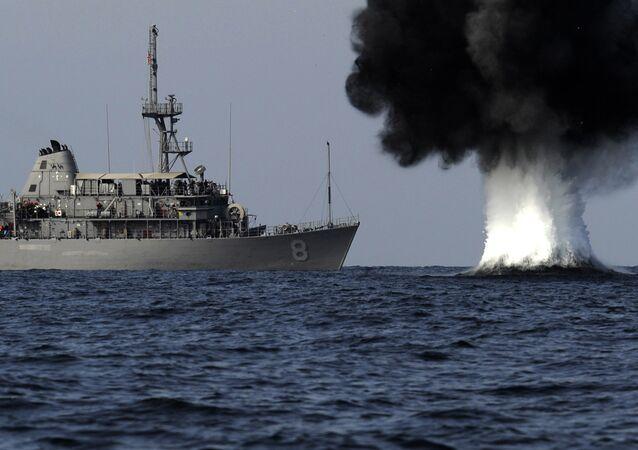 Maniobras navales del buque estadounidense USS Scout en el estrecho de Ormuz (archivo)