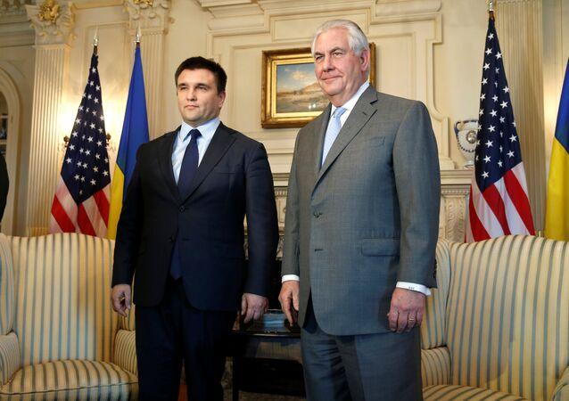 Canciller de Ucrania, Pavló Klimkin, y secretario de Estado de EEUU, Rex Tillerson