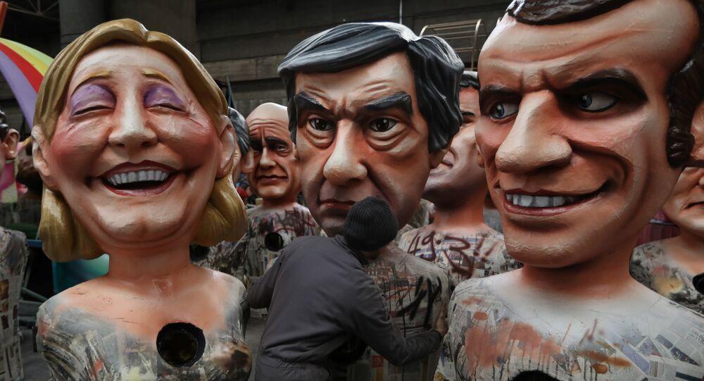 Figuras de los candidatos presidenciales de Francia: Marine Le Pen, François Fillon y Emmanuel Macron