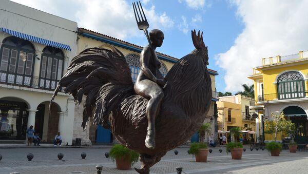 Monumento en la plaza Vieja, La Habana, Cuba. - Sputnik Mundo