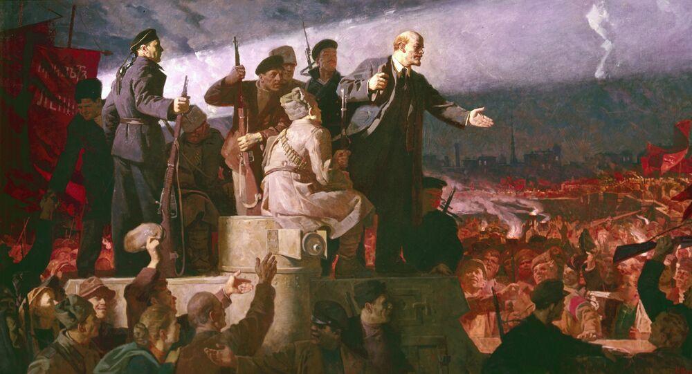 La llegada de Lenin a Rusia (1917) de Konstantín Aksiónov (reproducción)