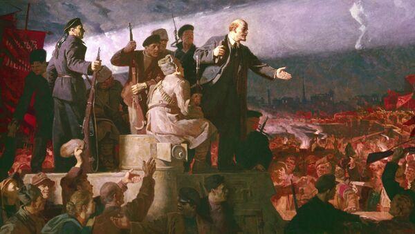 La llegada de Lenin a Rusia (1917) de Konstantín Aksiónov (reproducción) - Sputnik Mundo