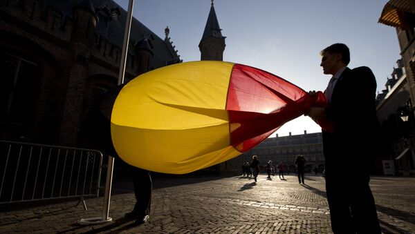 Belgium's flag is hoisted prior to the arrival of Belgium's Prime Minister Charles Michel for a meeting with Dutch Prime Minister Mark Rutte in The Hague, Netherlands, Monday, Oct. 27, 2014 - Sputnik Mundo