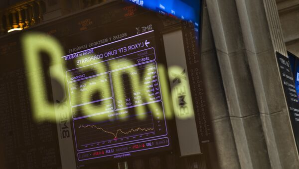 Stock Exchange main display is reflected on a Bankia sign in Madrid - Sputnik Mundo