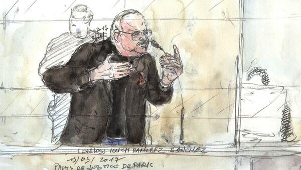 Esbozo de Ilich Ramírez Sánchez, más conocido como 'El Chacal', en la corte - Sputnik Mundo