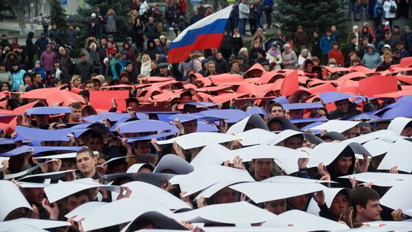 La celebración del tercer aniversario del retorno de Crimea a la Federación de Rusia - Sputnik Mundo