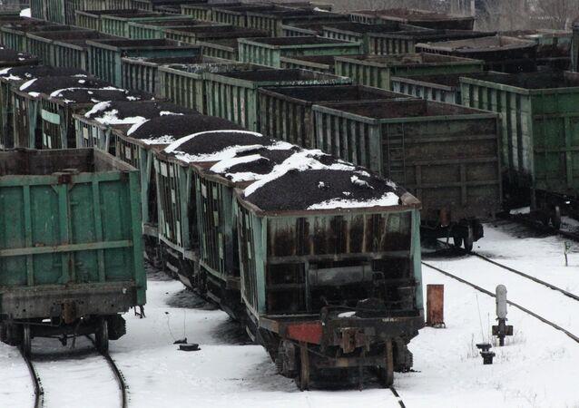 Transporte ferroviario con carbón en Donetsk (archivo)