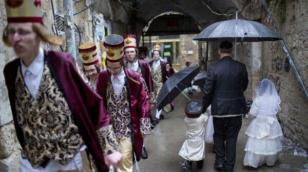 Ультраортодоксальные иудеи на празднике Пурим в Иерусалиме - Sputnik Mundo
