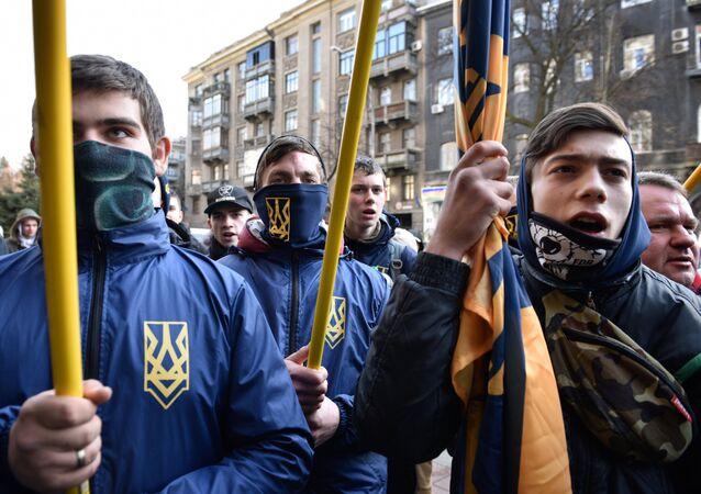 Los radicales ucranianos en Kiev (archivo)