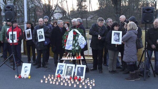 Protestas contra la marcha de los veteranos de la organización nazi Waffen-SS en Riga - Sputnik Mundo