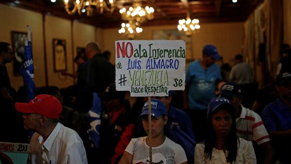 A government supporter holds a placard that reads No to the interference of Luis Almagro. Venezuela is respected during the news conference of Venezuela's Foreign Minister Rodriguez, in Caracas - Sputnik Mundo