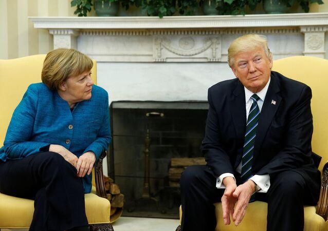 Canciller de Alemania, Angela Merkel, y presidente de EEUU, Donald Trump