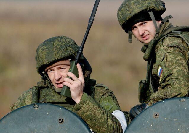 Infantes de marina rusos durante maniobras