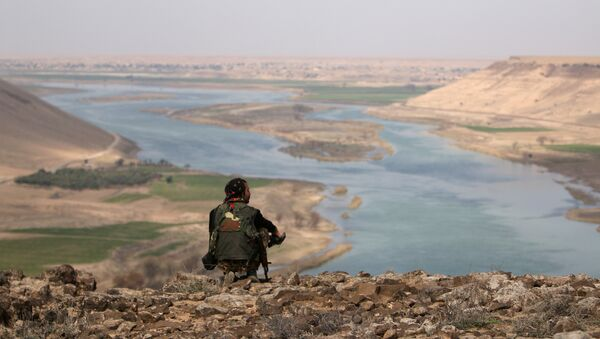 Combatiente de las Fuerzas Democráticas Sirias en la ciudad de Al Raqa en Siria (archivo) - Sputnik Mundo