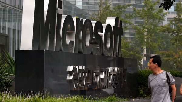 El exterior de una oficina de Microsoft, en Pekín, China - Sputnik Mundo