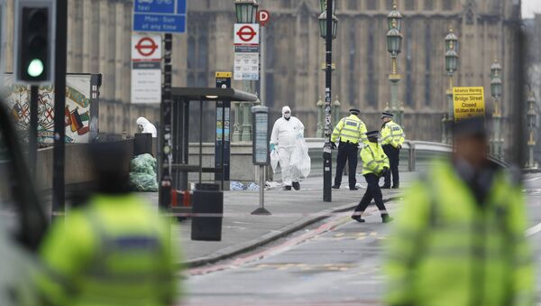 Police officers and forensics investigators and police officers work on Westminster Bridge the morning after an attack by a man driving a car and weilding a knife left five people dead and dozens injured, in London - Sputnik Mundo