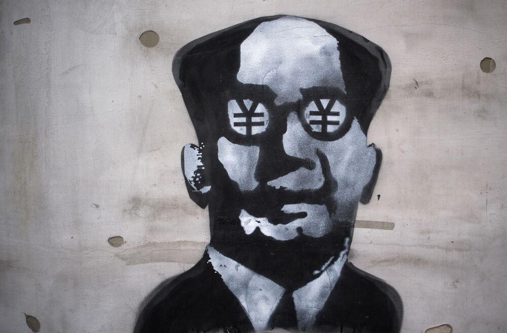 Grafiti con la imagen del fundador de la República Popular de China, Mao Zedong, en Shanghái