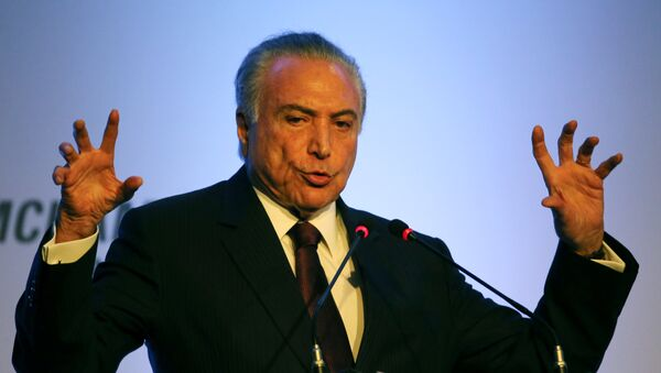 Brazil's President Michel Temer speaks during the American Chamber of Commerce (AMCHAM) meeting in Sao Paulo, Brazil, March 20, 2017 - Sputnik Mundo