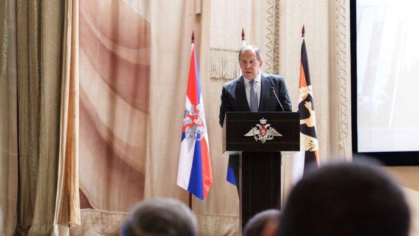 Serguéi Lavrov, ministro de Exteriores ruso, en una conferencia en la Academia del Estado Mayor General de las Fuerzas Armadas de Rusia - Sputnik Mundo