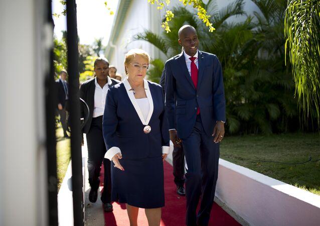 Presidenta de Chile, Michelle Bachelet, y presidente de Haiti, Jovenel Moise