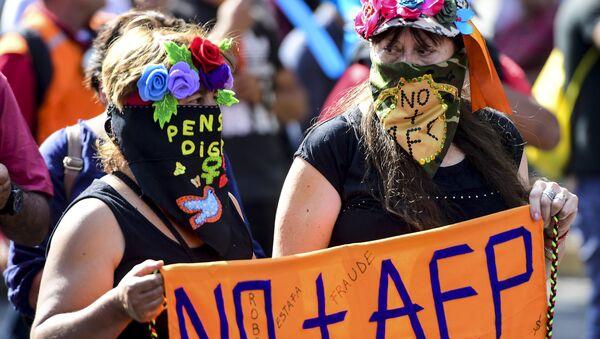 Manifestaciones de protesta contra el sistema de pensiones privado en Chile - Sputnik Mundo