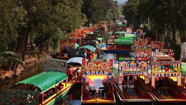 Trajineras en los canales de Xochimilco - Sputnik Mundo