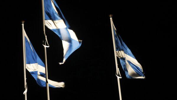 Saltire flags fly at the border between England and Scotland near Berwick on Tweed , Scotland March 10, 2017 - Sputnik Mundo