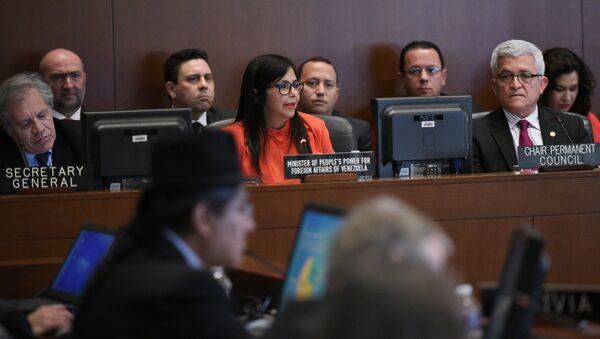 Delcy Rodríguez, ministra de Exteriores de Venezuela, durante la sesión del Consejo Permanente de la OEA - Sputnik Mundo