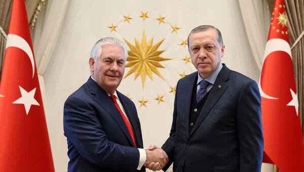 Erdogan junto con Tillerson, secretario de Estado norteamericano - Sputnik Mundo