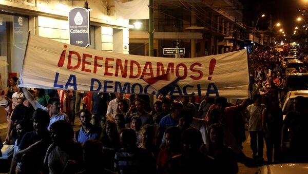 Protesta contra un proyecto de reforma constitucional en Paraguay - Sputnik Mundo