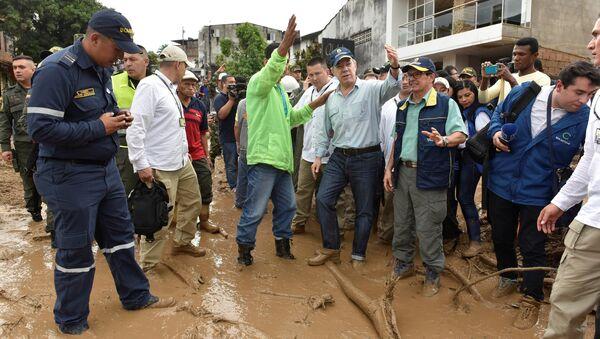 Juan Manuel Santos, presidente de Colombia, en el municipio de Mocoa, en Putumayo (suroeste) - Sputnik Mundo