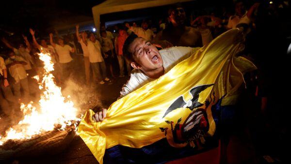 La manifestación de protesta de los partidarios del candidato presidencial Guillermo Lasso tras las elecciones en Ecuador (archivo) - Sputnik Mundo