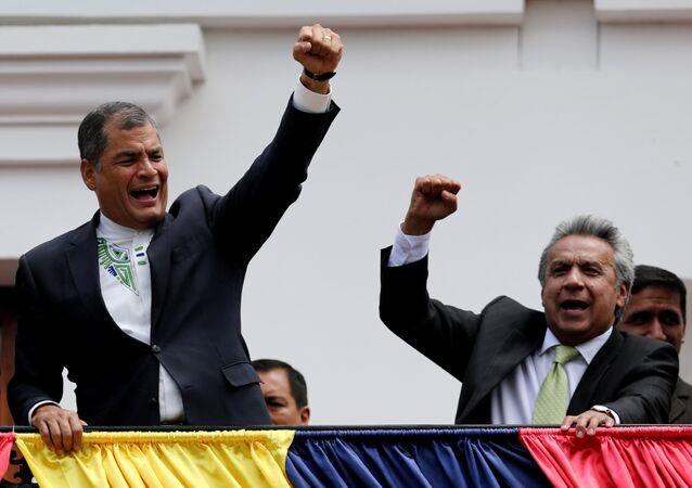 Presidente de Ecuador, Rafael Correa con ganador de las presidenciales, Lenin Moreno