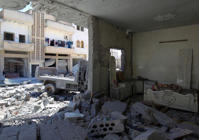 Consecuencias de los bombardeos en Idlib (archivo)