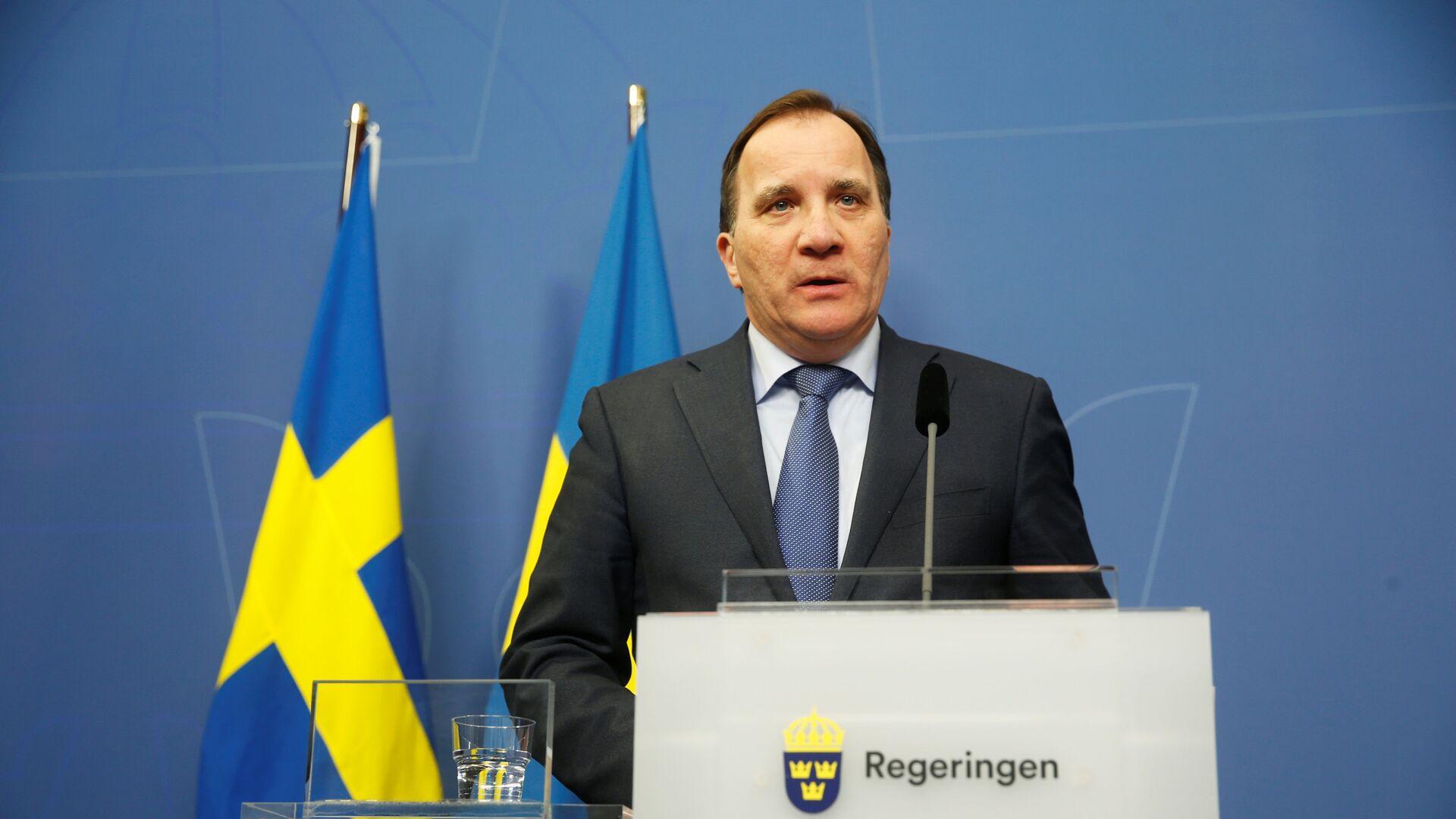 Swedish Prime Minister Stefan Lofven speaks at a news conference at Rosenbad after a terror attack on Drottninggatan  - Sputnik Mundo, 1920, 28.06.2021