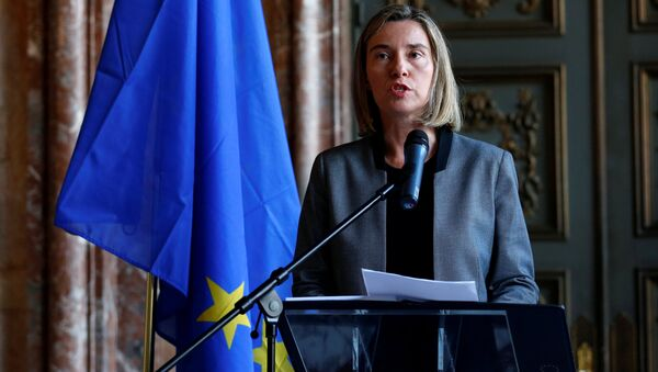 European Union foreign policy chief Federica Mogherini briefs the media during an international conference on the future of Syria and the region - Sputnik Mundo