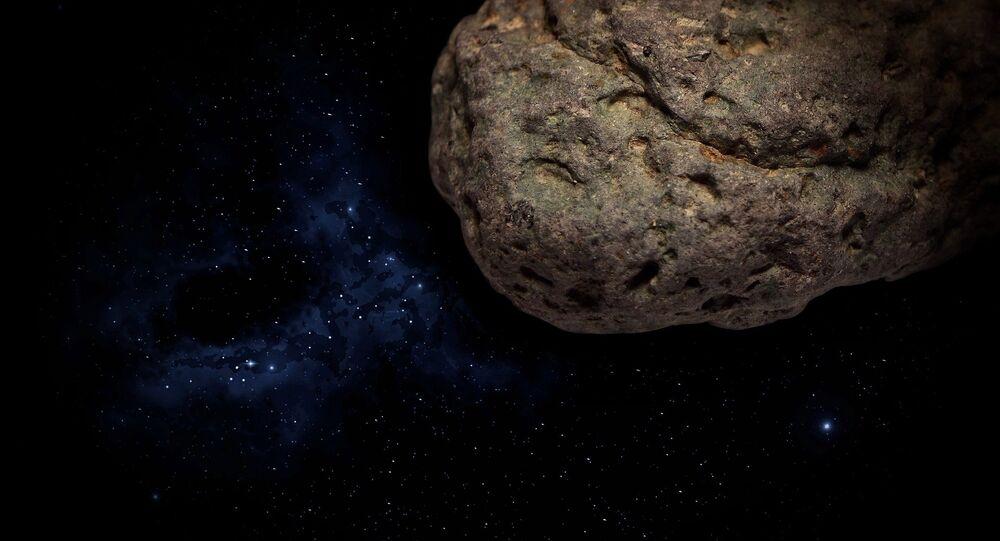 Ilustración gráfica de un asteroide